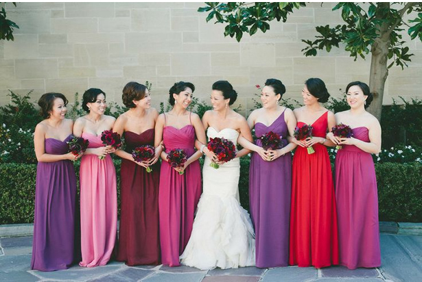 bridesmaids rainbow